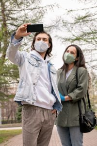 Photographing with wife in mask