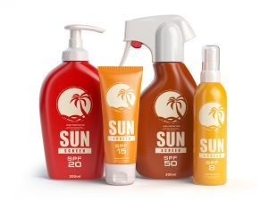 Sun screen cream, oil and lotion containers. Sun protection and