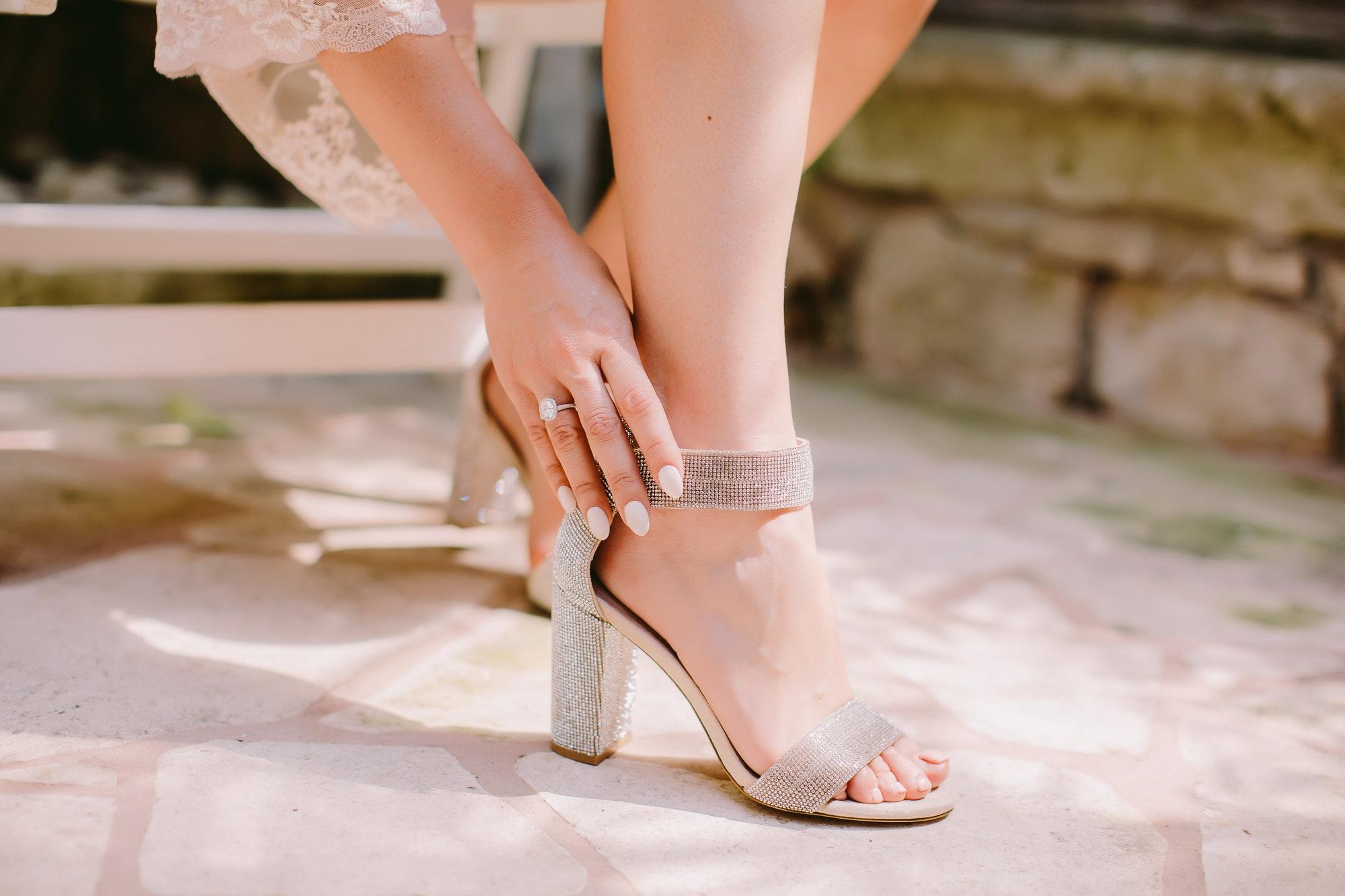 woman wearing high heel shoes