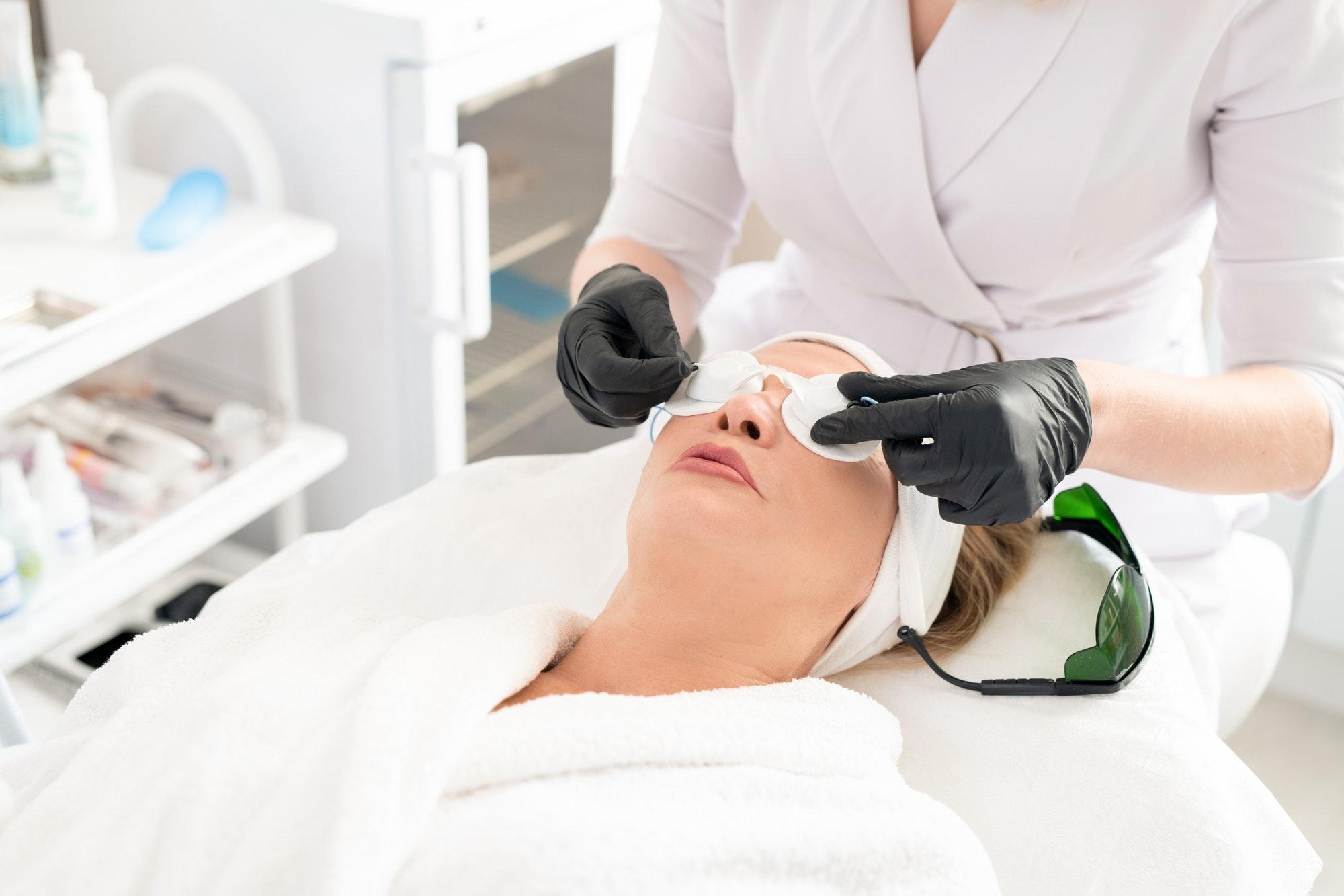 Preparing client for laser surgery