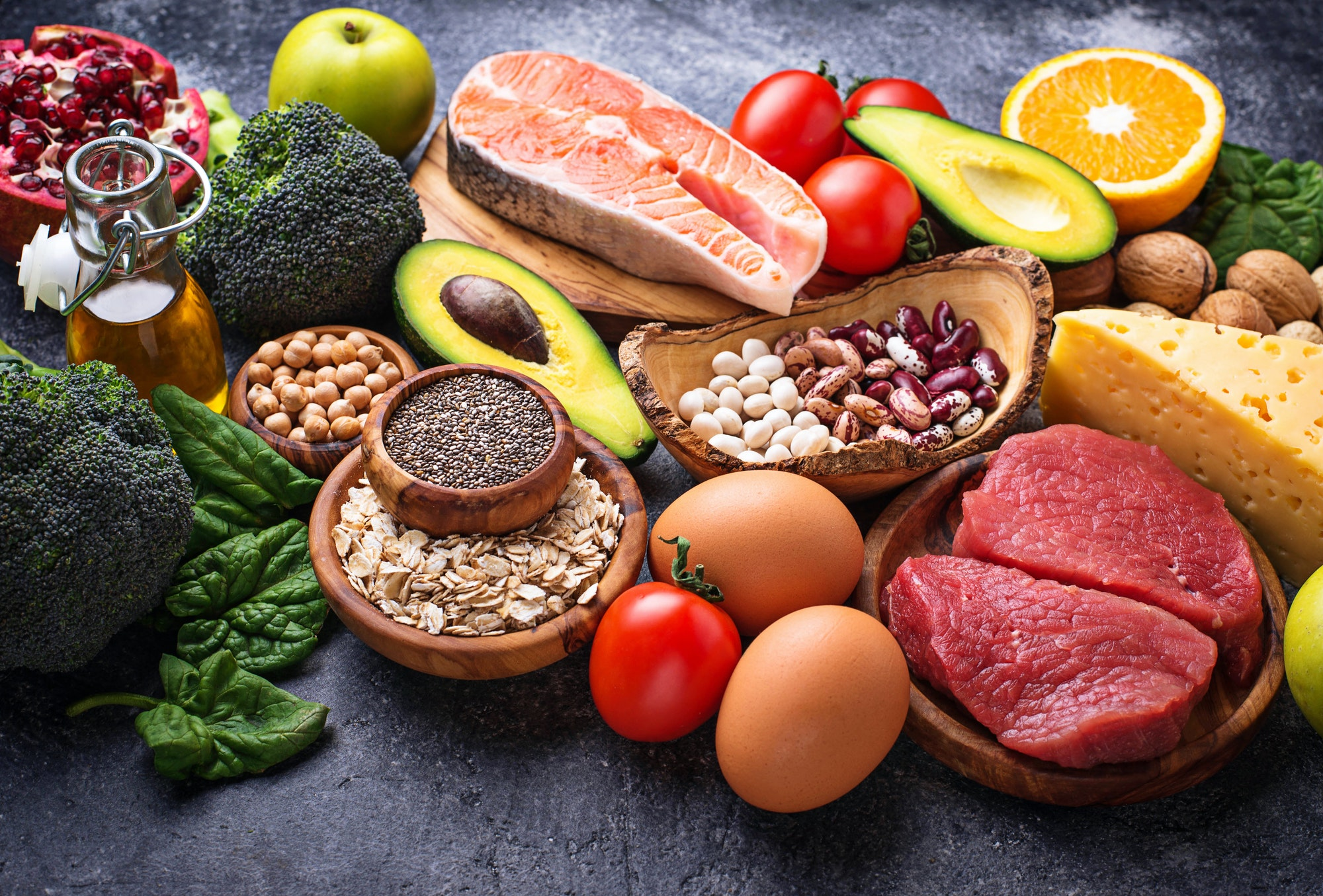 Organic food for healthy nutrition and superfoods