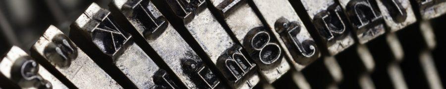 Old typewriter letters macro shot